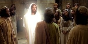 Jesus, appears to his disciples after the resurrection.