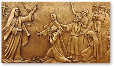 St. Mary Magdelene announces the resurrection to the apostles. Artwork by Margaret Beaudette, SC, 2015.