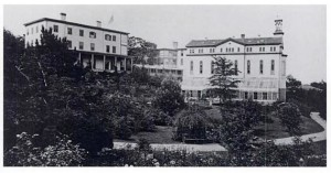 The buildings on the hill, circa 1863.